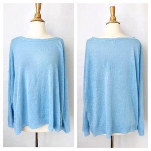 Eileen Fisher Organic Linen Tunic Top Baby Blue